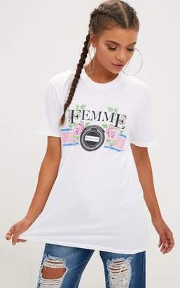 PrettyLittleThing White Femme Slogan Rose Oversized T Shirt