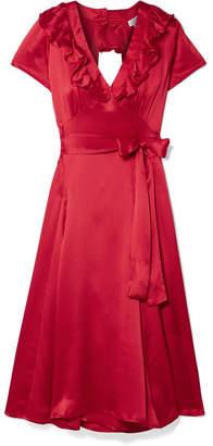 Rhode Resort Celia Cutout Silk Wrap Dress - Red