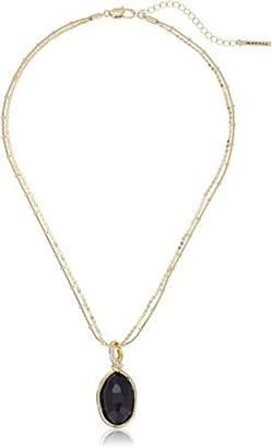 T Tahari Faceted Stone Drop Pendant Necklace