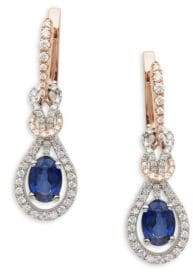 Effy 14K White Rose Gold Diamonds & Sapphire Knot Drop Earrings