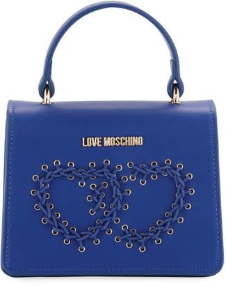 Love Moschino Top-Handle Bag with Grommet Heart