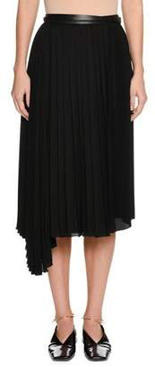 Jil Sander Enjeu Below-Knee Pleated Skirt with Leather Wrap Belt
