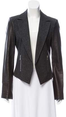 Michael Kors Faux Leather-Trimmed Wool Blazer