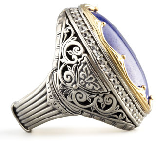 Konstantino Round Topaz-Bezel Lapis Ring