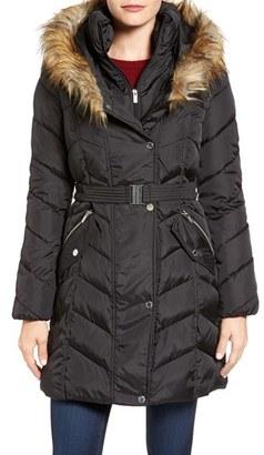 Women's Rachel Roy Faux Fur Trim Quilted Coat With Bib $210 thestylecure.com