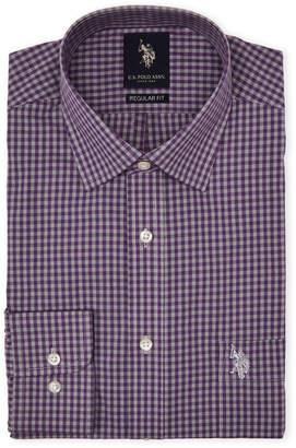 175da7287 U.S. Polo Assn. Purple   Grey Gingham Dress Shirt
