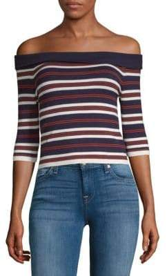 J.o.a. Striped Off-The-Shoulder Top
