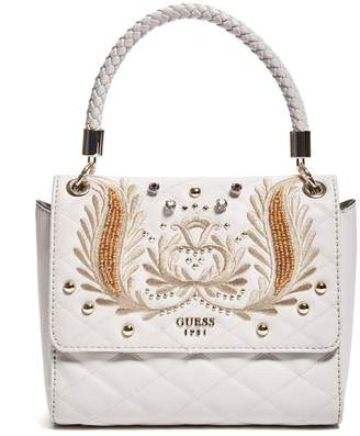 13fb34c2ff6c GUESS Alessia Embroidered Top Handle Flap Bag