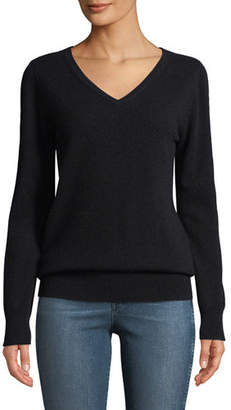 Neiman Marcus Cashmere Relaxed V-Neck Sweater, Plus Size