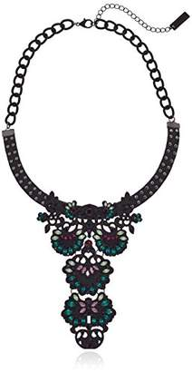 Steve Madden Casted Curb Leather Bib Choker Necklace