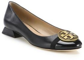 Tory Burch Cheri Leather Cap-Toe Ballet Flats $275 thestylecure.com