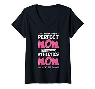Womens Funny Athletics Mom Phrase Design | Track And Field Mother V-Neck T-Shirt