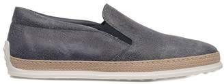 Tod's Denim Blue Rubber And Raffia Slipper