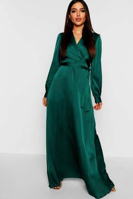 boohoo Satin Belted Wrap Maxi Dress
