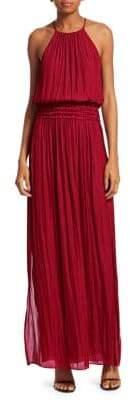 Halston Smocked Waist Sleeveless Gown