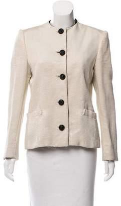 Oscar de la Renta Velvet-Trimmed Ribbed Jacket