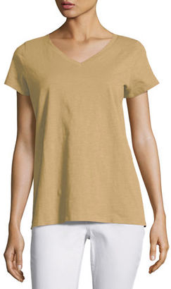 Eileen Fisher Short-Sleeve V-Neck Jersey Tee, Petite $78 thestylecure.com