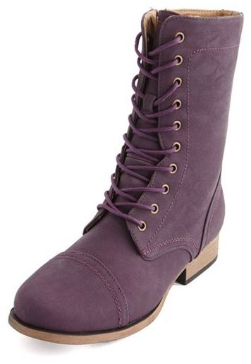 Charlotte Russe Colored Lace-Up Combat Bootie