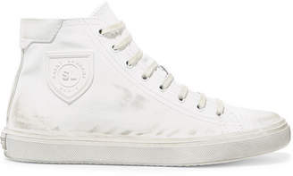Saint Laurent Bedford Logo-appliqued Distressed Leather High-top Sneakers - White