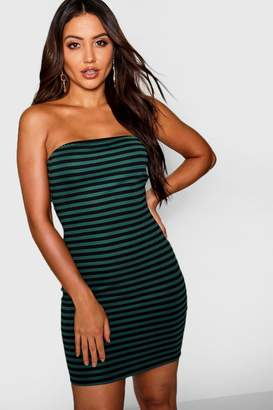 boohoo Horizontal Stripe Bandeau Mini Dress