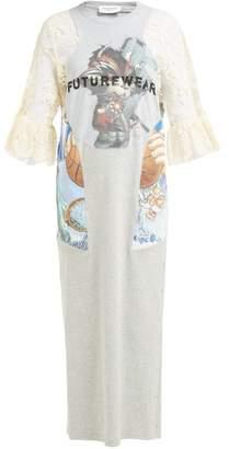 Marine Serre Lace Trimmed Cotton Dress - Womens - Grey Multi