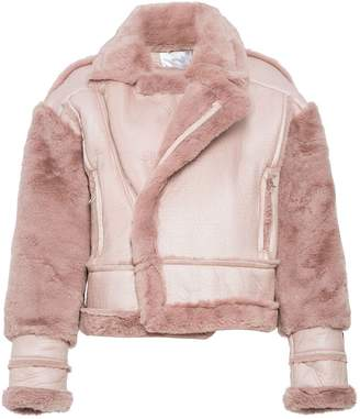 Quiz Pink Faux Fur Lined Chunky Biker Jacket