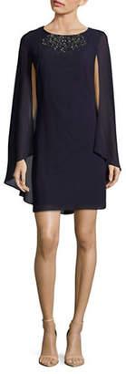 Vince Camuto Beaded Cape-Sleeve Chiffon Dress
