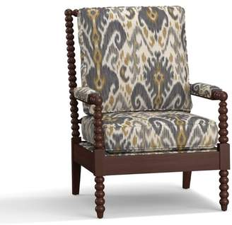 Pottery Barn Loralie Upholstered Spindle Armchair - Print and Pattern