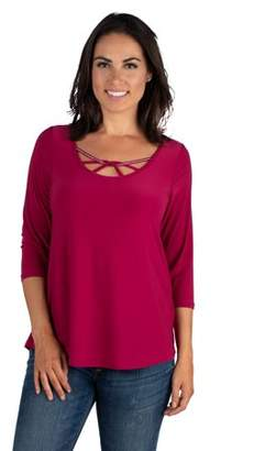 24seven Comfort Apparel Women's Strappy Neckline Criss Cross Womens 3/4 Sleeve Top