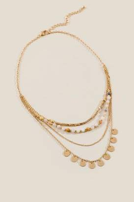 francesca's Ava Beaded Coin Drop Layered Necklace - Tan