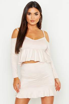 boohoo Soft Handle Faux Suede Cold Shoulder Top