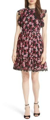 Kate Spade Floral Ruffled Tulle A-Line Dress