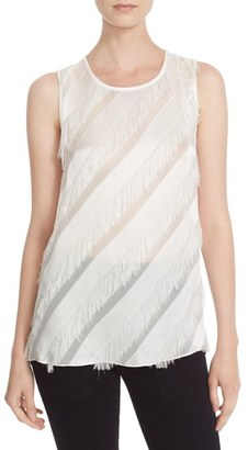 Tracy Reese Bias Fringe & Satin Stripe Shell $248 thestylecure.com
