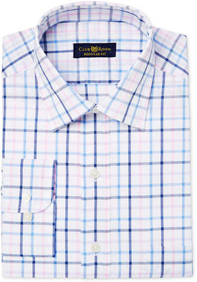 Club Room Men's Big & Tall Classic/Regular Fit Pink Lilac Check Dress Shirt, Only at Macy's $59.50 thestylecure.com
