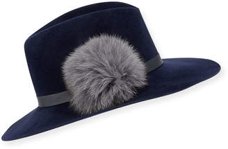 Frasconi Felt Fedora Hat w/ Leather Band & Fur Pompom