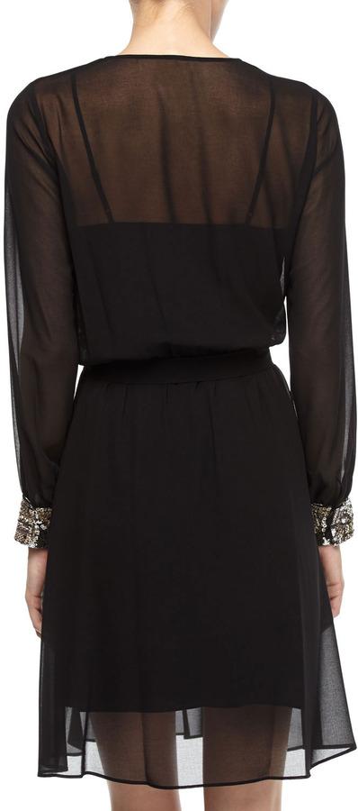 Donna Morgan Sequin-Cuff Chiffon Faux-Wrap Dress, Black