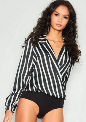 6fcfc2966a Missy Empire Missyempire Lili Black Stripe Silk Wrap Bodysuit