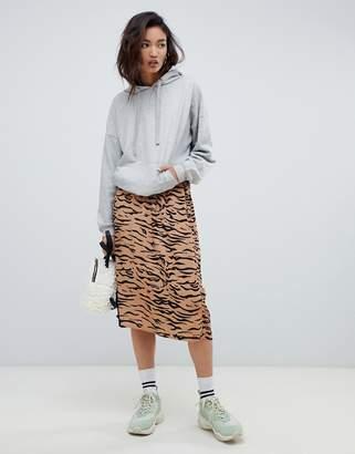 NA-KD tiger print midi skirt