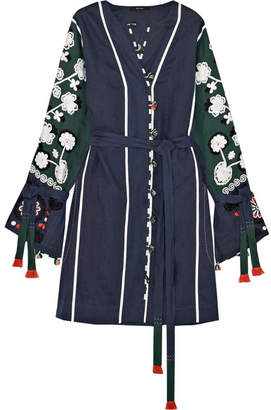 Eres + Vita Kin Siciliy Embroidered Linen Dress - Navy