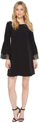 Laundry by Shelli Segal Shift Dress with Lace Sleeve Hem Detail Women's Dress