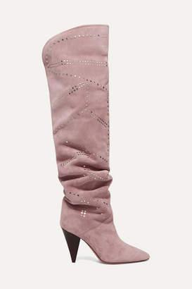 Isabel Marant Ladra Studded Suede Knee Boots - Blush