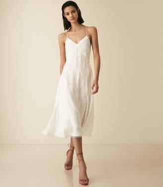 Reiss ANIA LACE DETAIL STRAPPY DRESS White