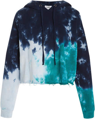 RE/DONE Cropped Tie-Dyed Cotton-Jersey Hooded Sweatshirt