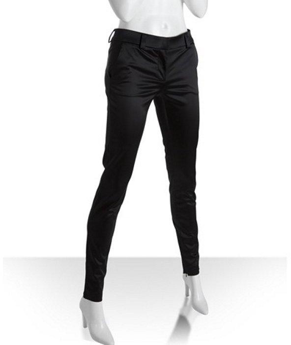 D&G black satin skinny ankle zip pants