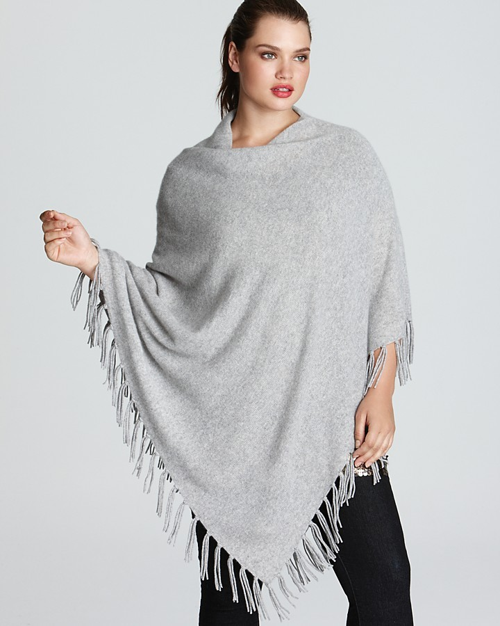 Bloomingdale's C by Plus Cashmere Fringe Poncho