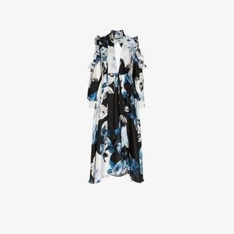 Off-White Off White floral flared silk midi dress