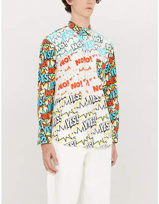 Comme des Garcons Cartoon-print regular-fit cotton shirt