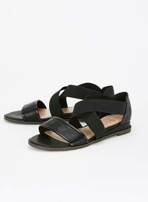 9e98c64adb992 Evans EXTRA WIDE FIT Black Crossover Sandals