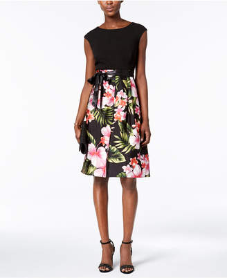 Sangria Floral-Print Fit & Flare Dress