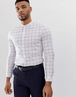 Asos Design DESIGN slim fit grandad collar shirt with grid design